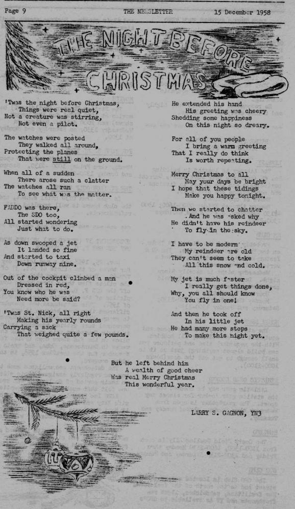 The Night Before Christmas 1958: This is off page 9 of the Navy Light Photographic Squadron VFP-62 December 15, 1958.